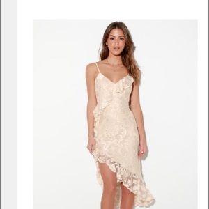 Lulu's Ivory Velvet Ruffled Midi Dress